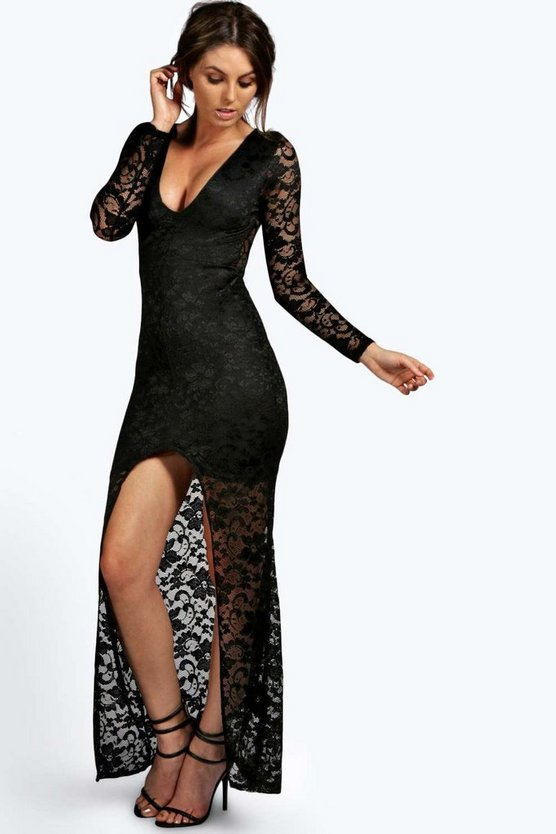 Petite Isobel Plunge Neck Lace Maxi Dress