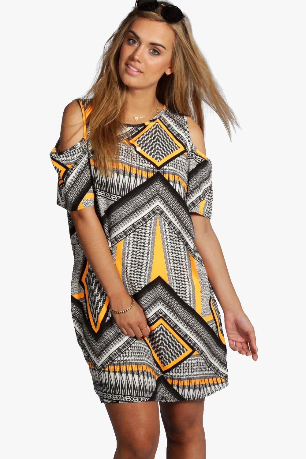 Plus Ruby Aztec Print Open Shoulder Shift Dress