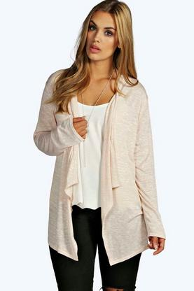 Plus Charlotte Knitted Waterfall Cardigan