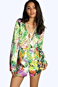 Petite Emma Tropical Wide Sleeve Playsuit