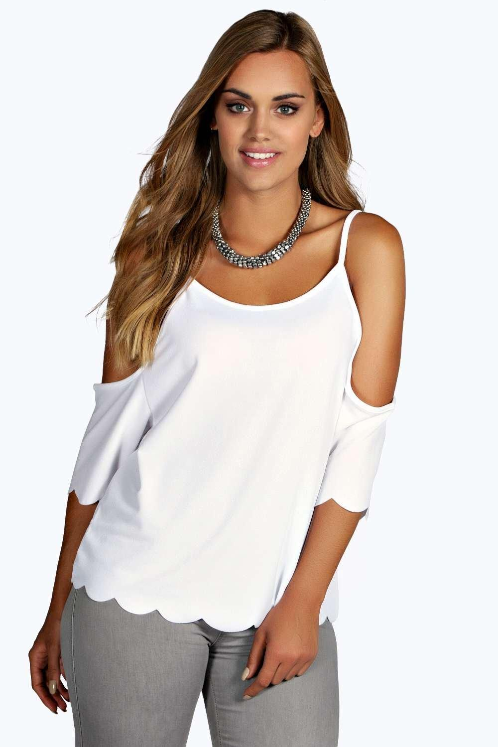 Plus Charlotte Open Shoulder Scallop Edge Top