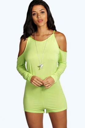 Petite Caitlin Cold Shoulder High Neck Playsuit