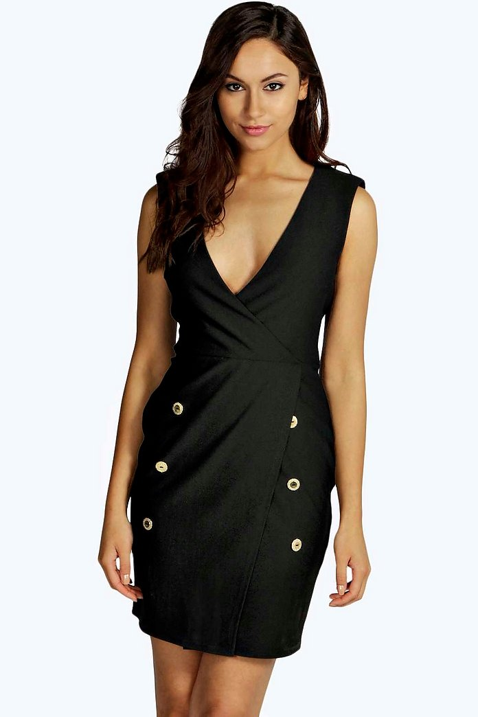 Petite Adele Button Detail Bodycon Dress