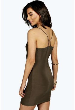 Petite Rebecca Slinky Bodycon Dress With Back Detail