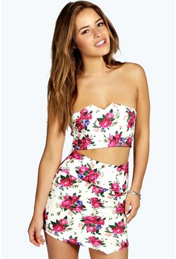 Petite Nikita Floral Skirt And Crop Co-Ord
