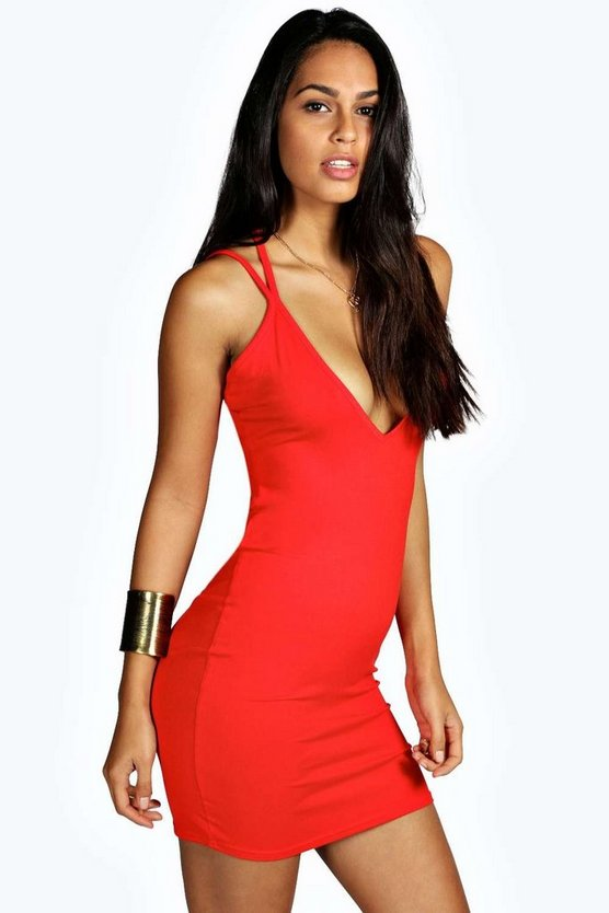 Petite Allison Strappy Back Bodycon Dress