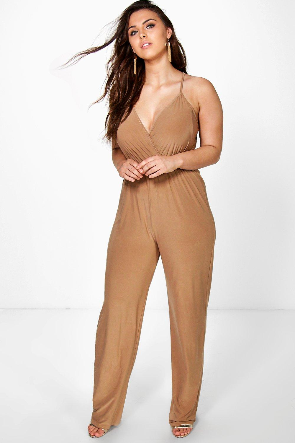 Plus Caitlyn Strappy Wrap Front Jumpsuit