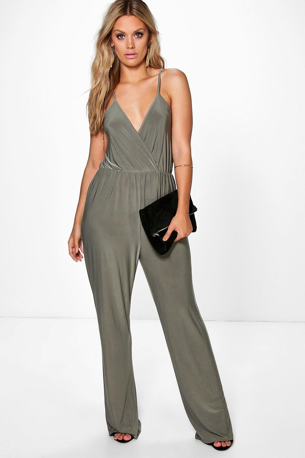 Caitlyn Strappy Wrap Front Jumpsuit  khaki