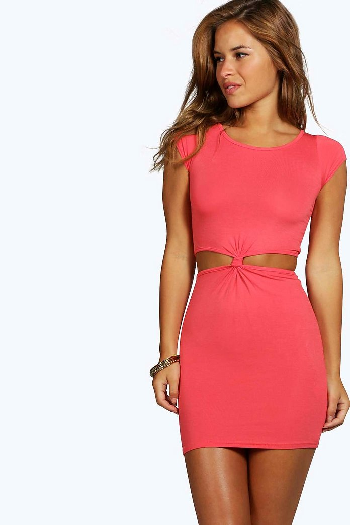 Petite Georgia Cut Out Side Cap Sleeve Knot Dress