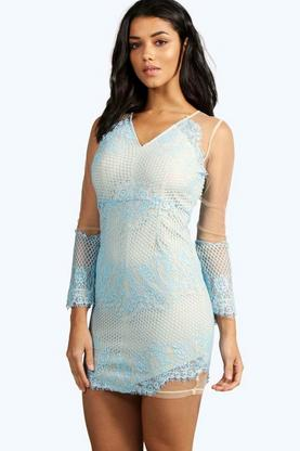Petite Leanne Lace Detail Bodycon Dress