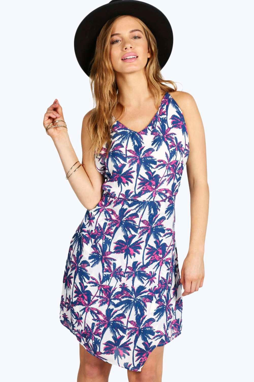 Petite Vickie Palm Tree Print Dress
