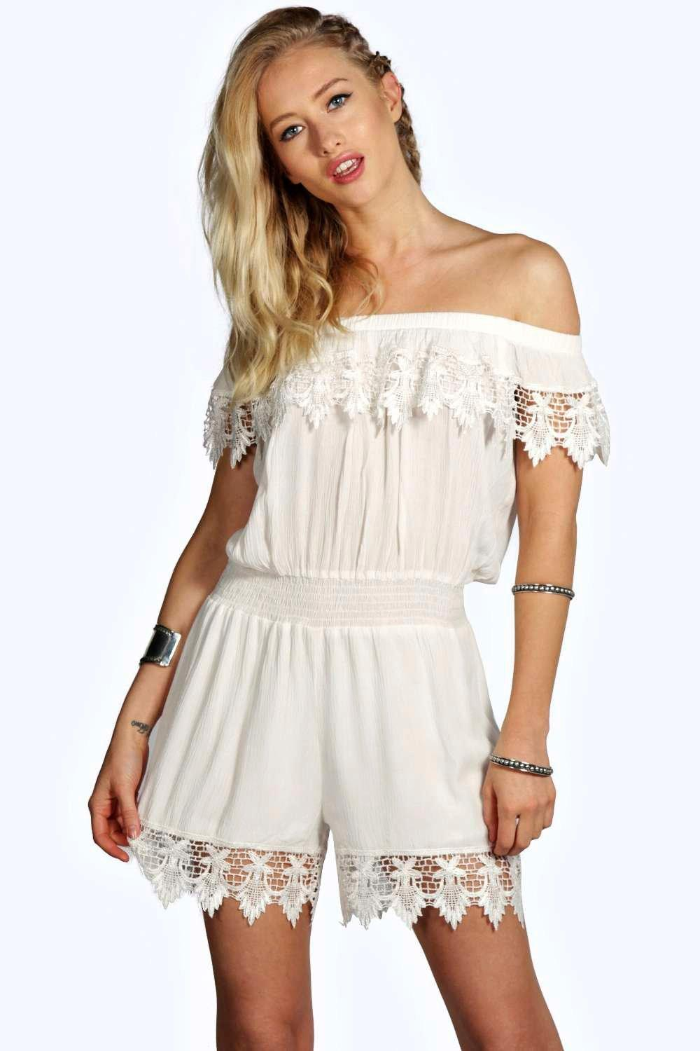 Petite Cate Crochet Off The Shoulder Playsuit