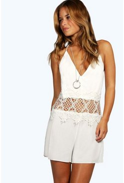 Petite Charlie Strappy Back Crochet Detail Playsuit