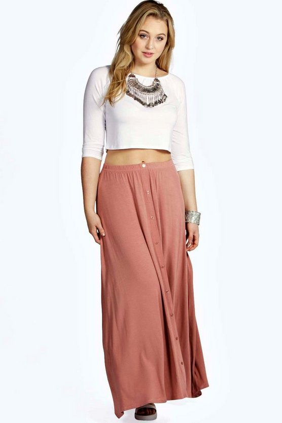 Plus Eliza Button Through Maxi Skirt