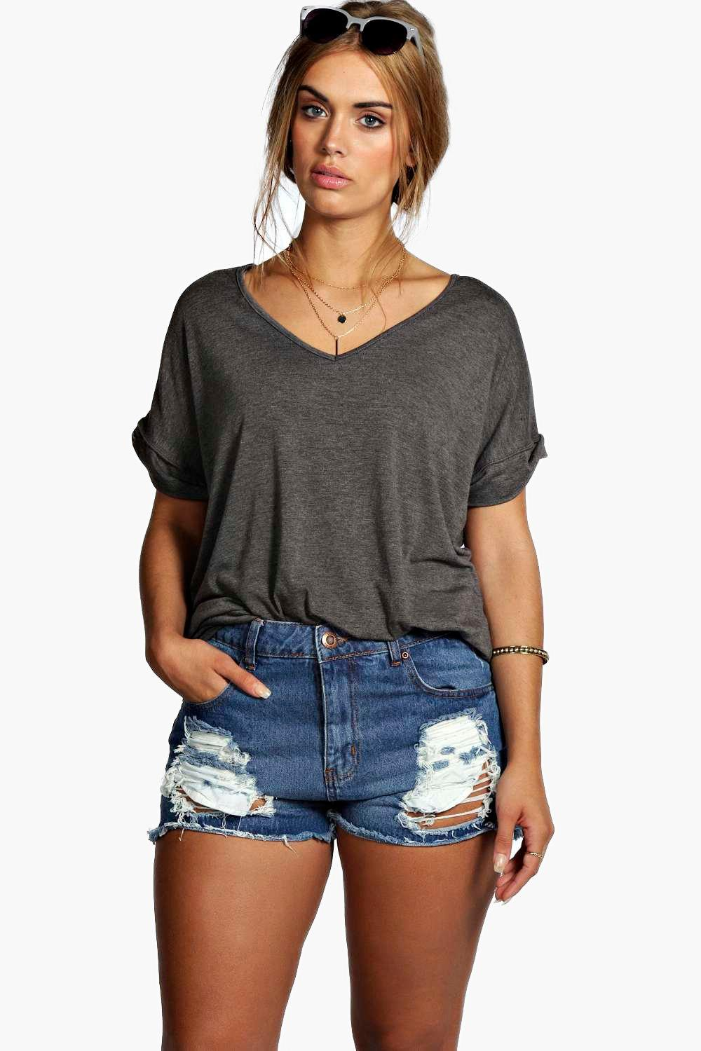 Plus Felicity Ripped Denim Short