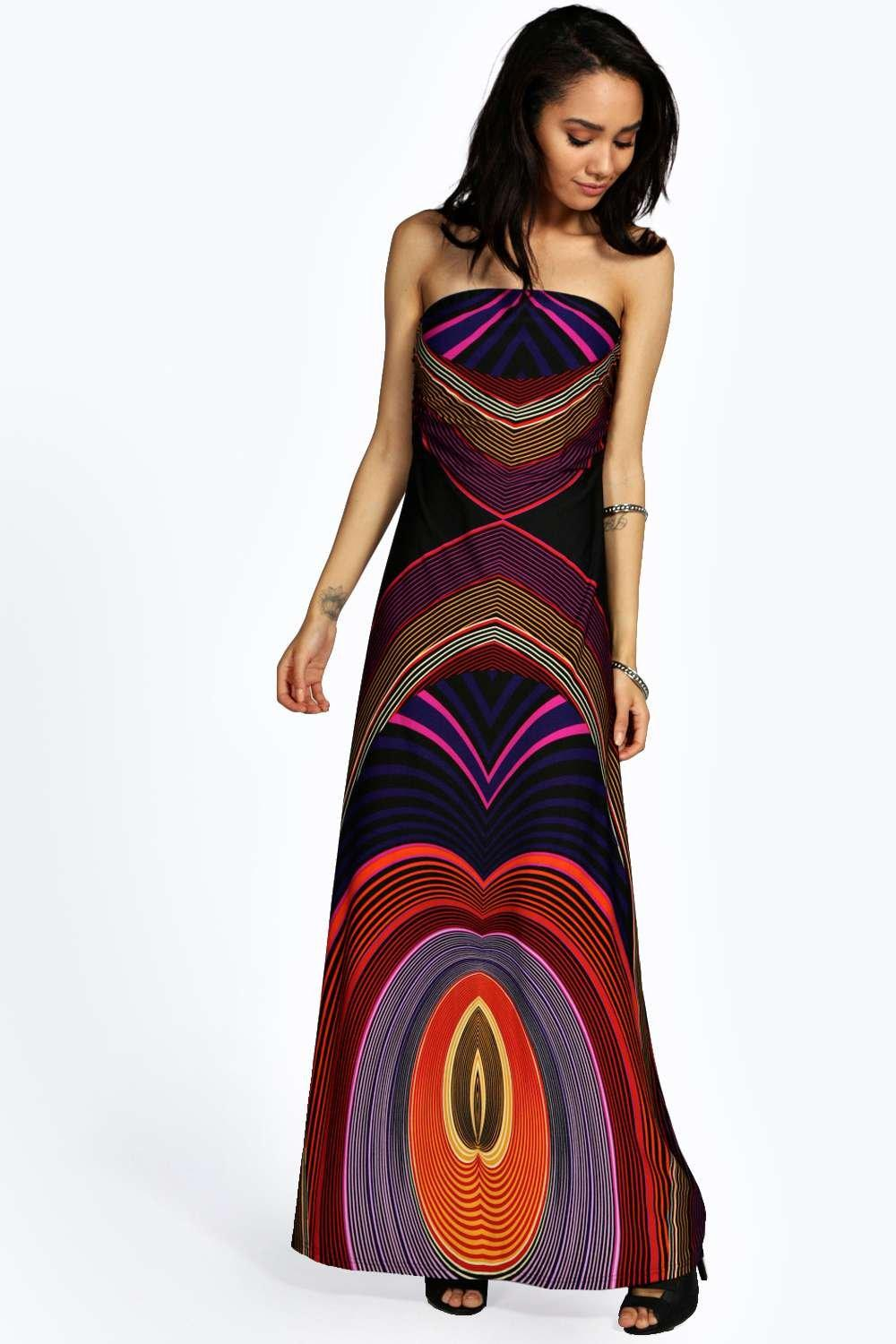 Petite Stephanie Bandeau Printed Maxi Dress