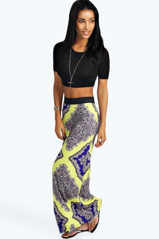 Petite Joanna Large Baroque Print Maxi Skirt | Boohoo
