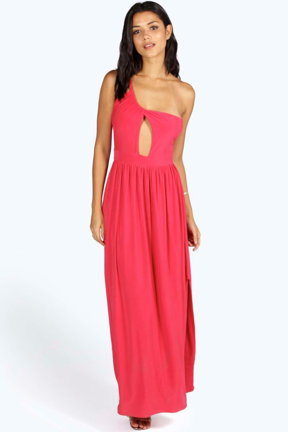 Lucia One Shoulder Drape Front Maxi - coral