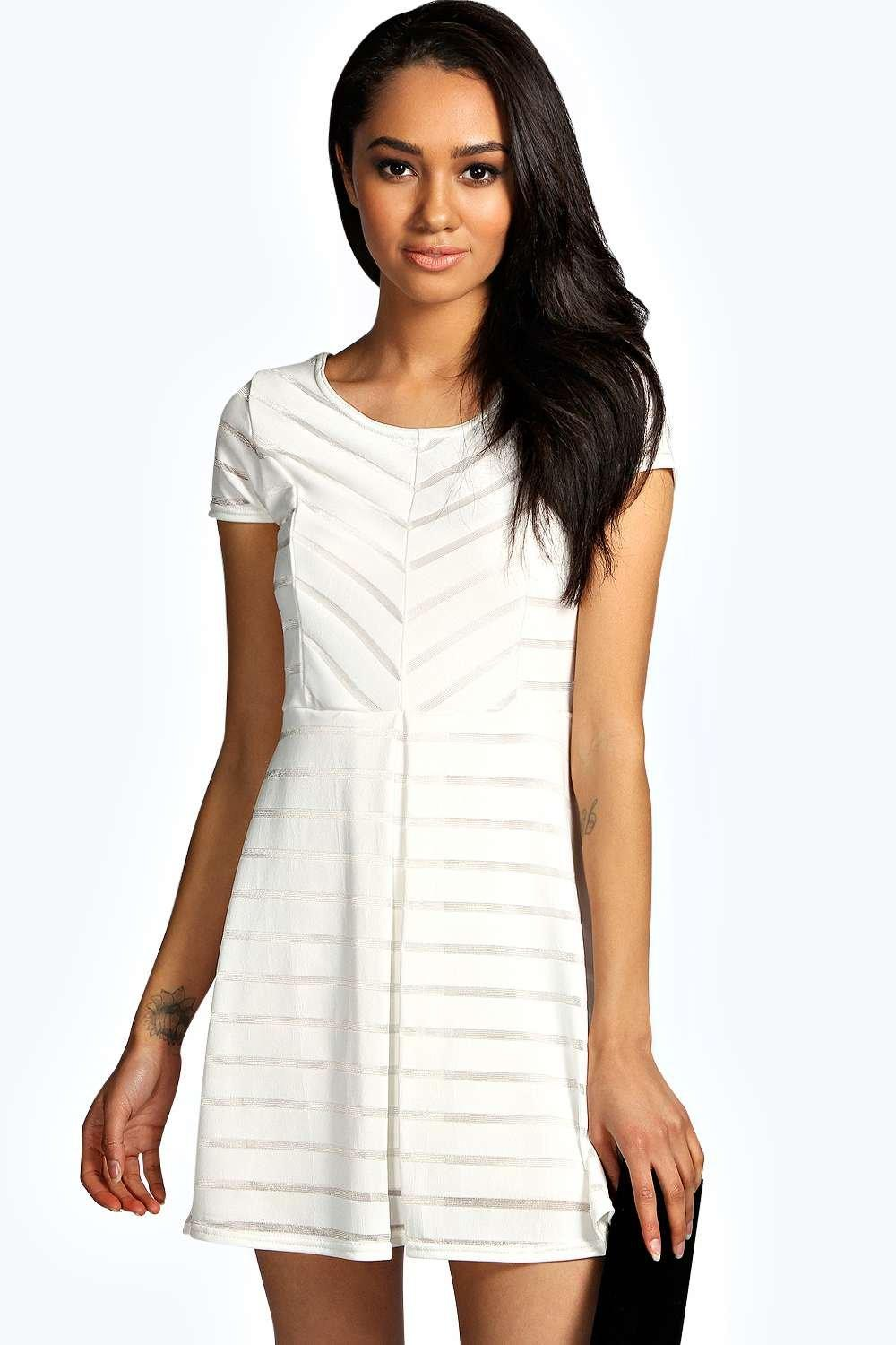Petite Donna Striped Skater Dress