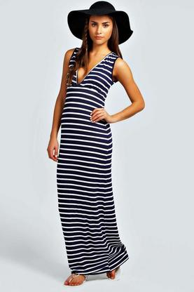 Petite Harriet Plunge Striped Jersey Maxi Dress