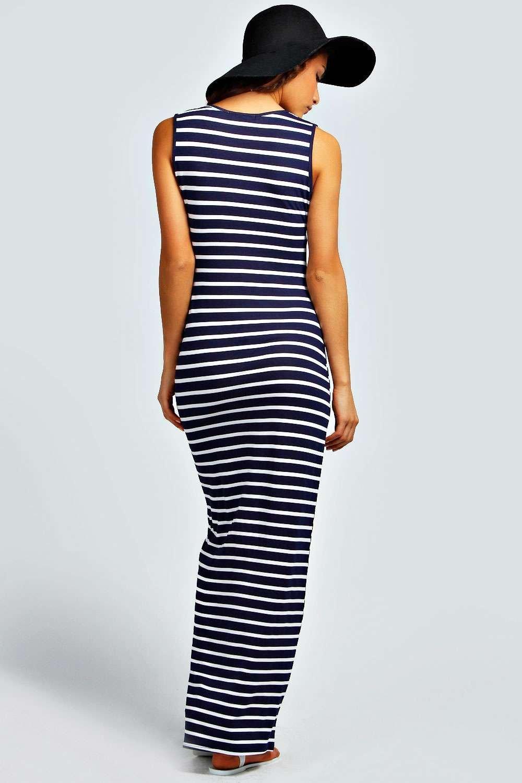 Boohoo Womens Petite Harriet Plunge Striped Jersey Maxi Dress