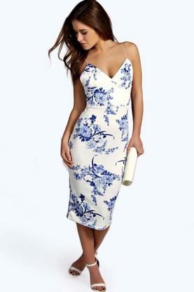 Petite Heather Plunge Neck Printed Midi Dress