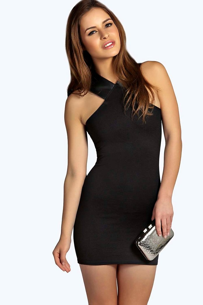 Petite Libby PU Detail Ribbed Bodycon Dress