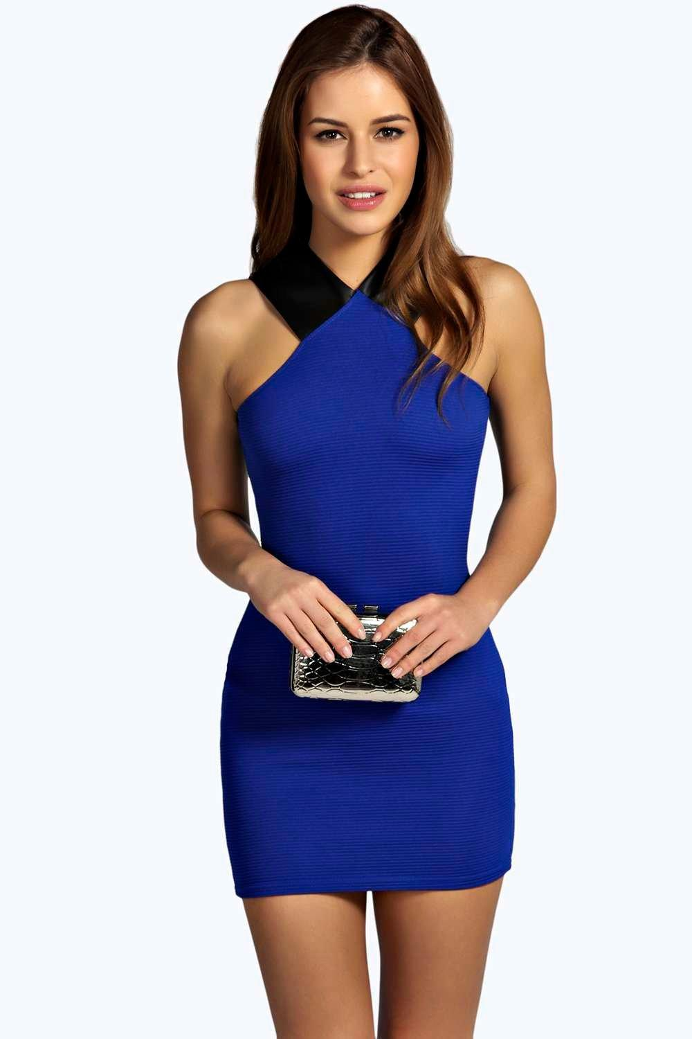 Libby PU Detail Ribbed Bodycon Dress cobalt