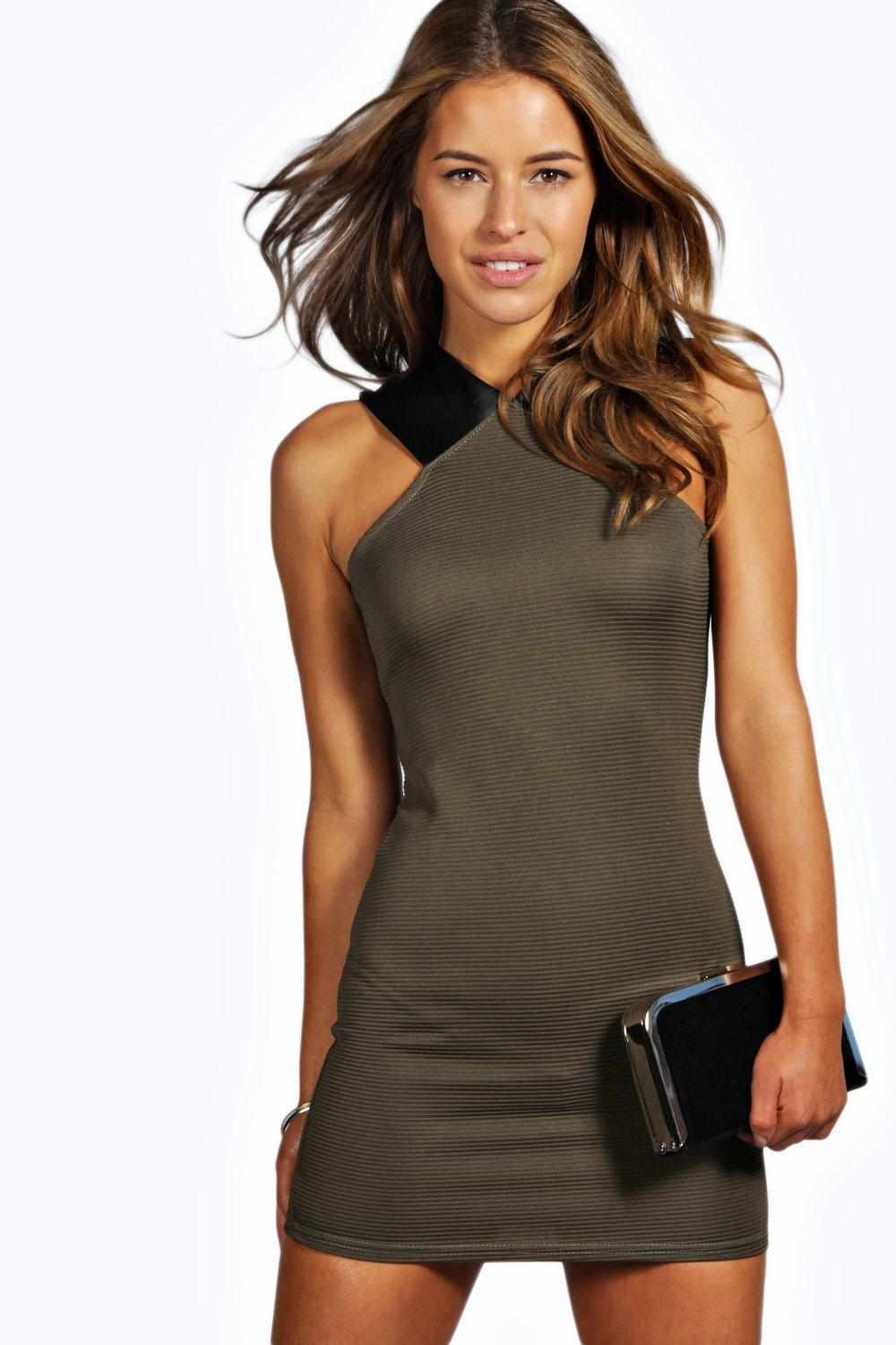 Libby PU Detail Ribbed Bodycon Dress khaki
