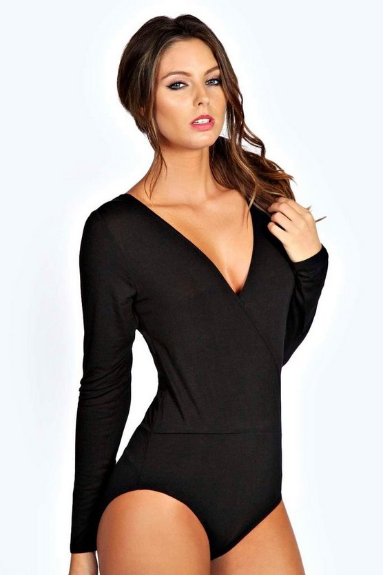 Petite Amy Basic Wrap Front Bodysuit