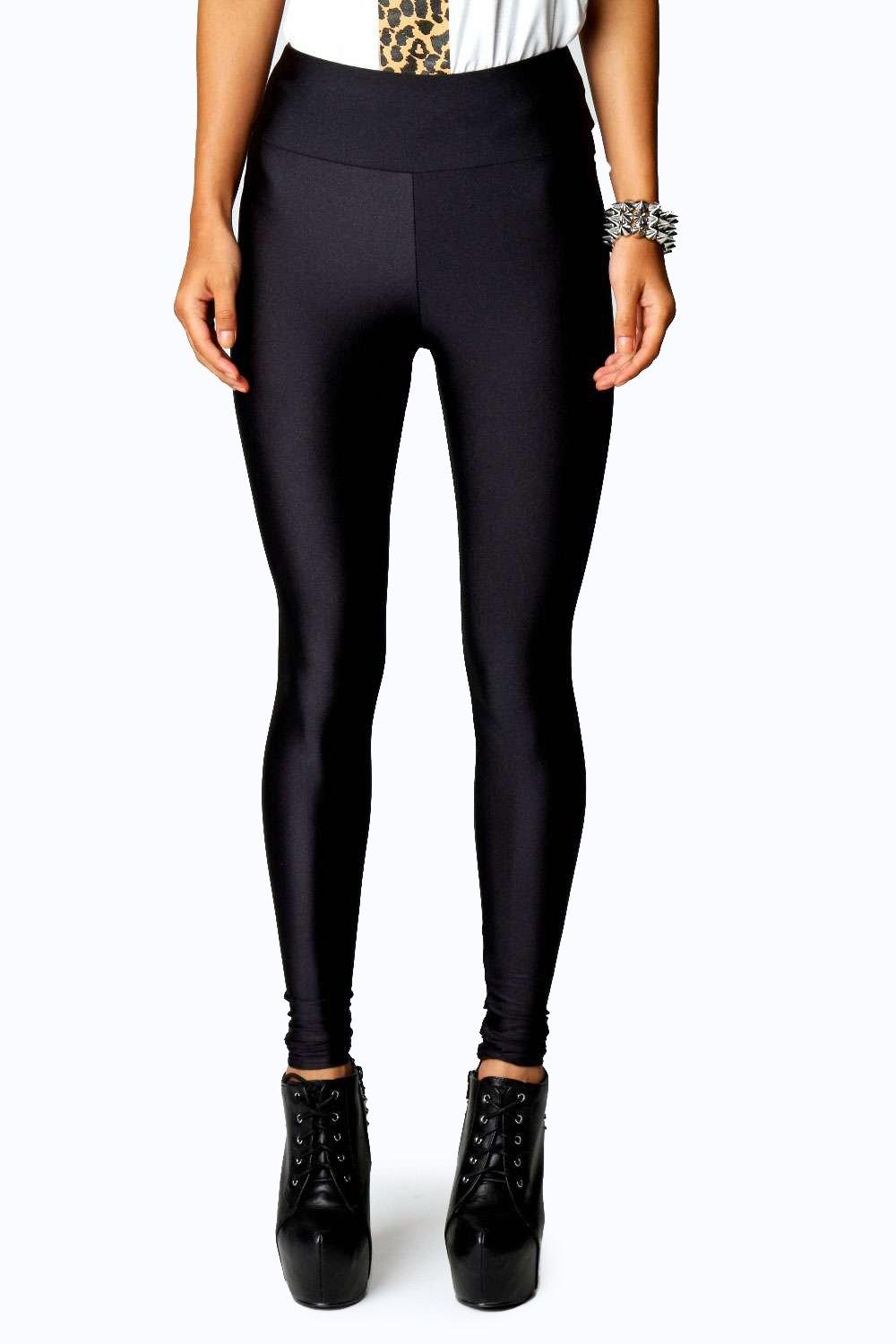 Petite Katie High Shine Waisted Disco Pants black