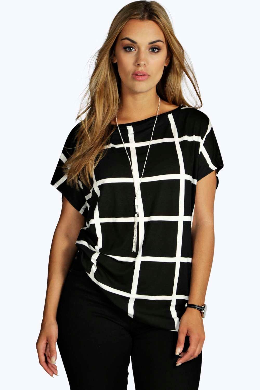 Womens Plus Oversized T-Shirt mit Raster-Print - Mehrfarbig - 44, Mehrfarbig - Boohoo.com
