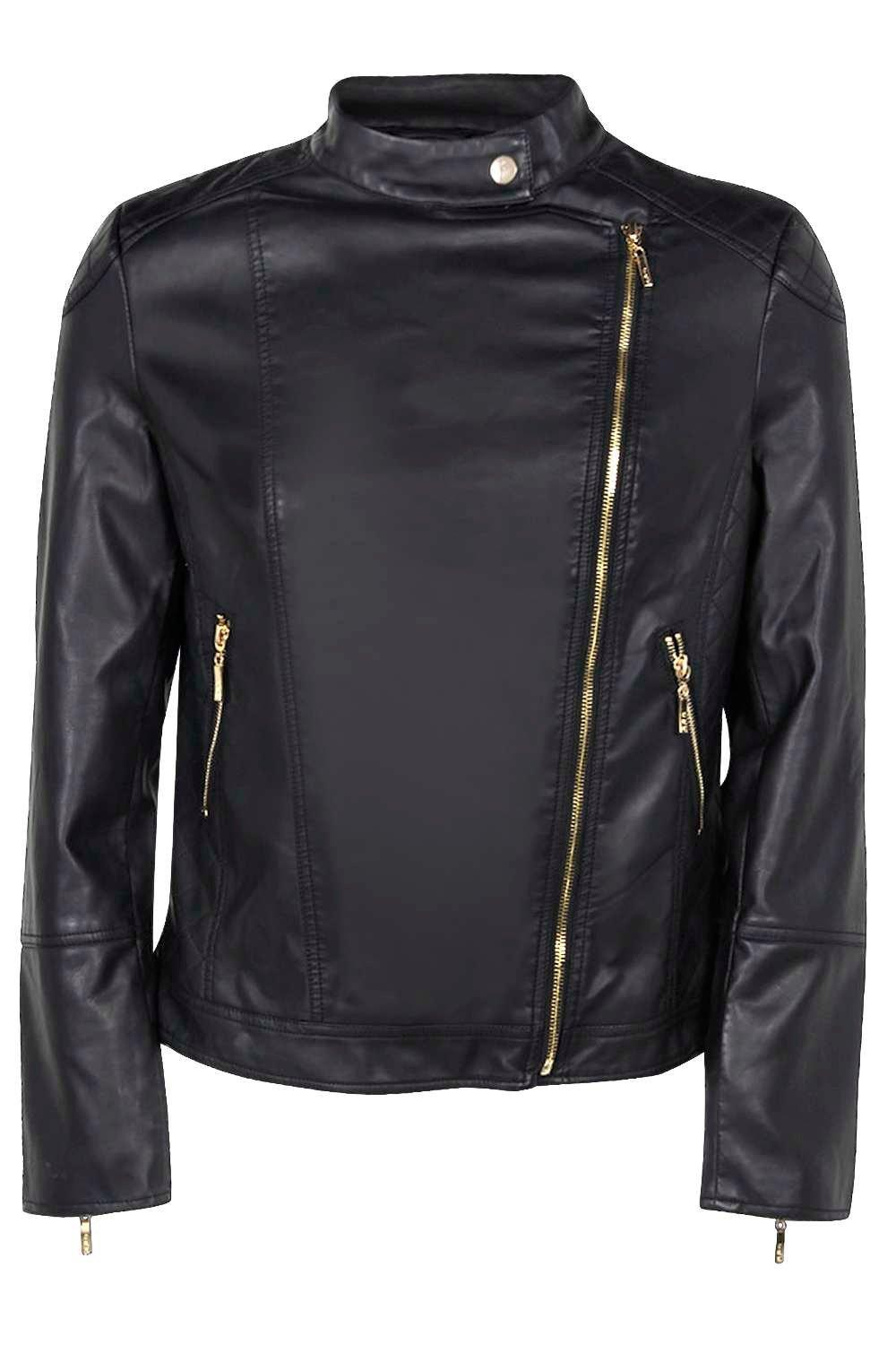 Boohoo Womens Eliza Quilted Faux Leather Biker Jacket