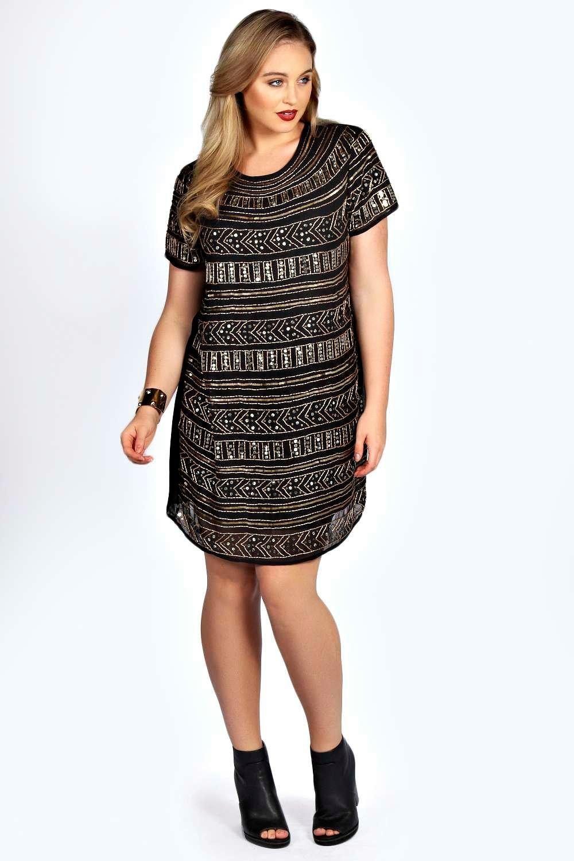 plus jemma embellished shift dress | boohoo