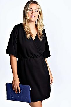 Plus Nancy Crepe Wrap Front Dress