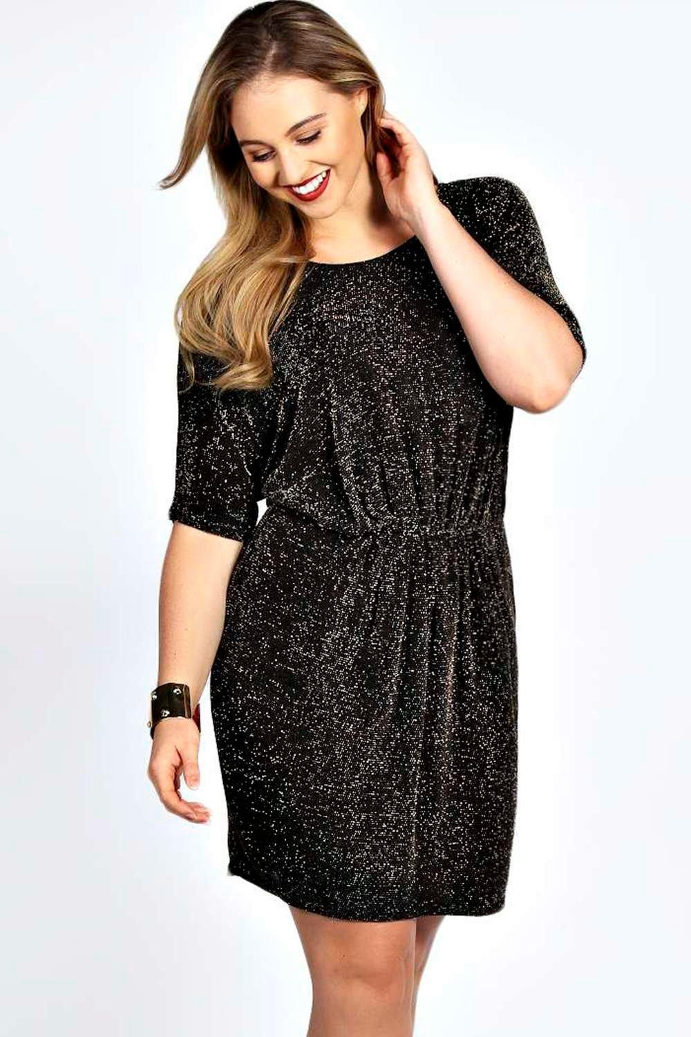 Plus Zoe Shimmer Batwing Dress
