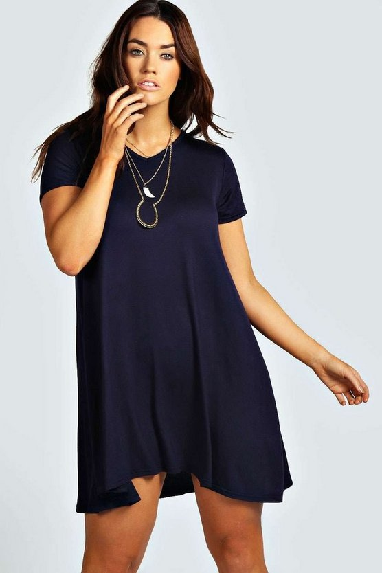 Plus Clea V Neck Swing Dress
