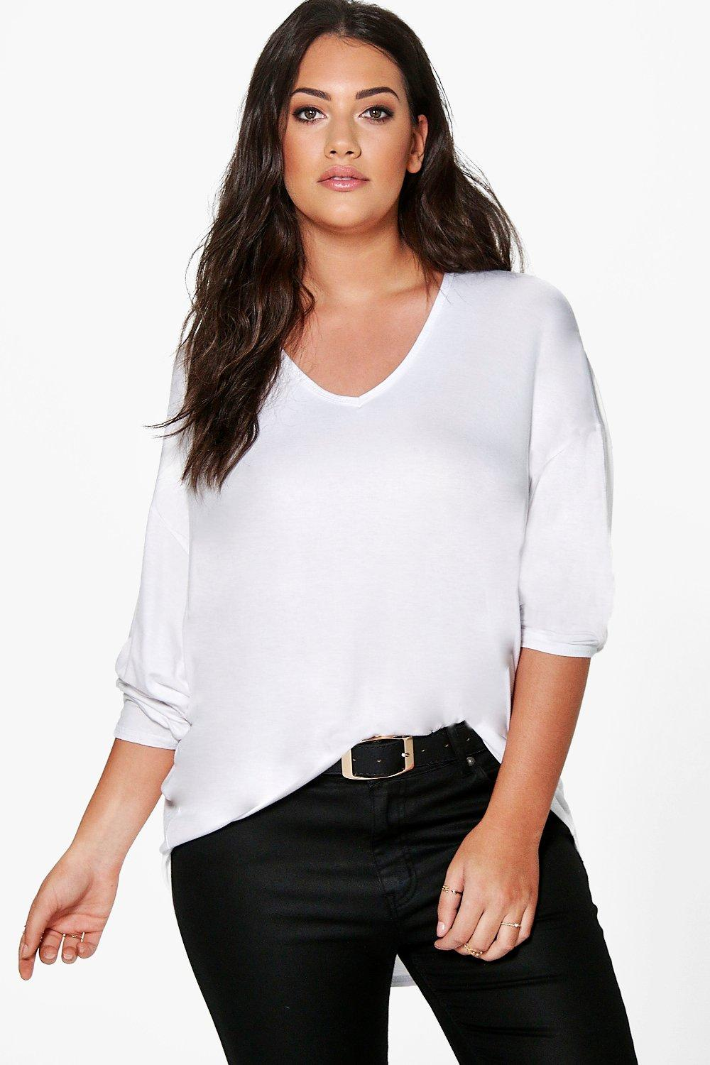 Plus Desiree V Neck Oversized Tee