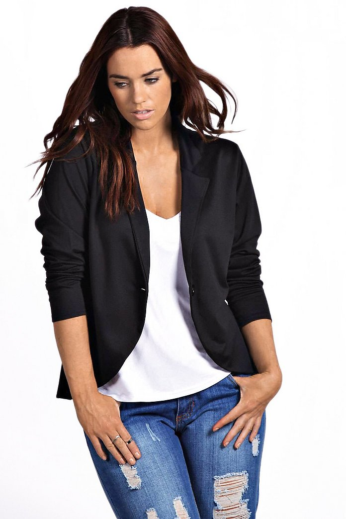 Plus Astrella One Button Ponte Blazer