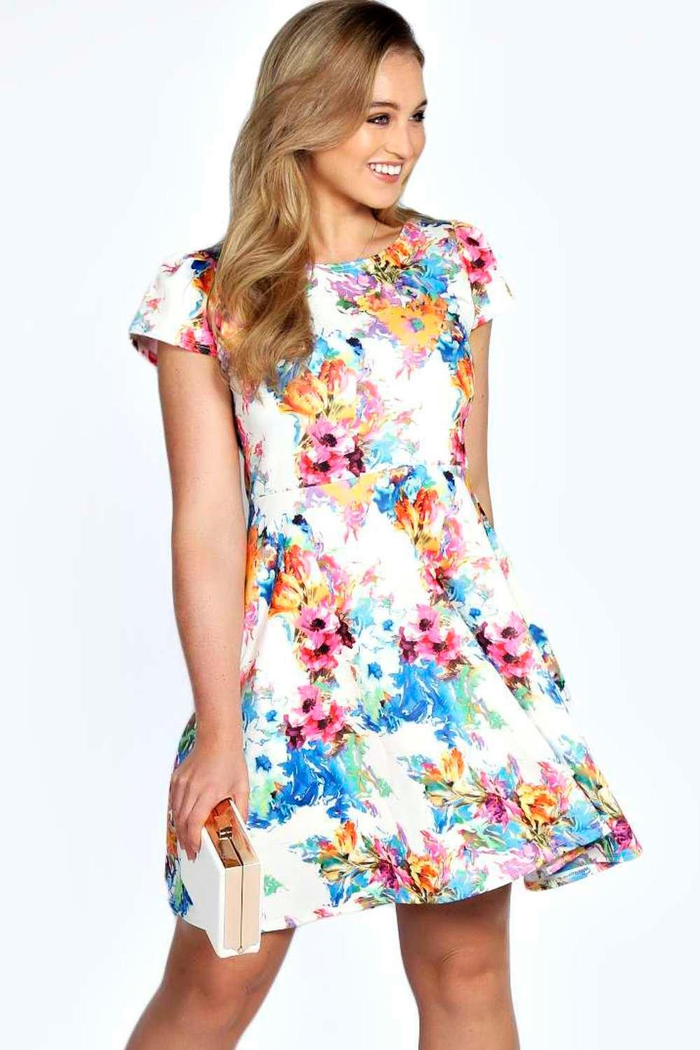Plus Tammy Floral Printed Skater Dress