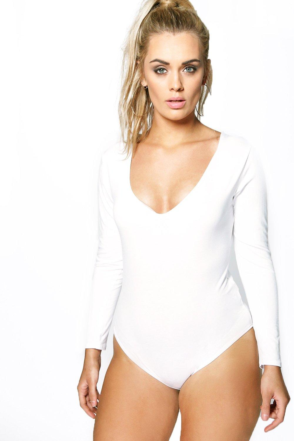 Plus Olivia Long Sleeve V Neck Bodysuit