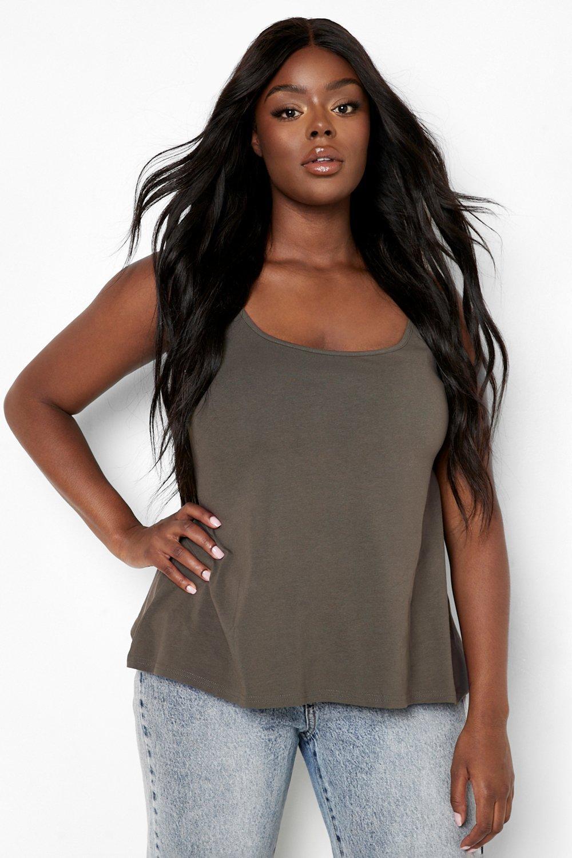 Womens Plus - Ausgestelltes vest Top - khaki - 50, Khaki - Boohoo.com