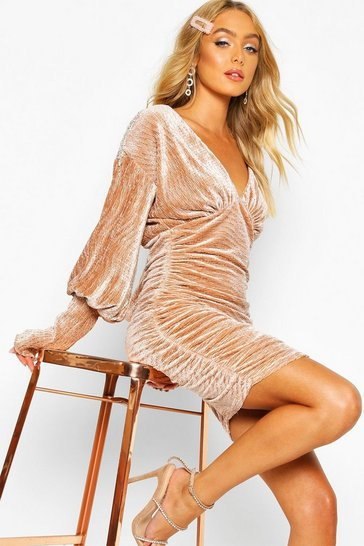 Nude Premium Pleated Velvet Drape Sleeve Bodycon Dress