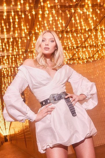 White Taffeta Oversized Sleeve Off The Shoulder Dress
