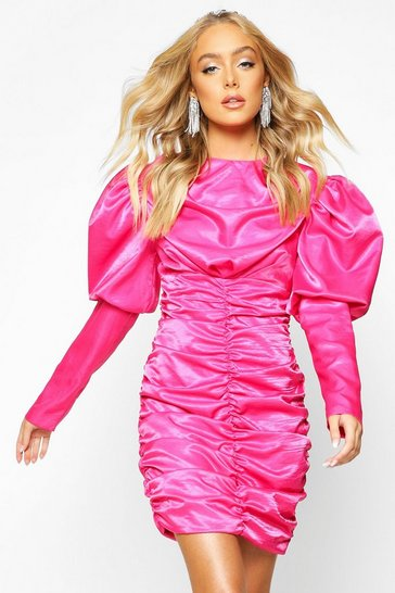 Hot pink Premium Puff Sleeve Ruched Fitted Dress