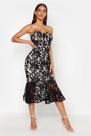 Black Premium Lace Fishtail Midi Dress