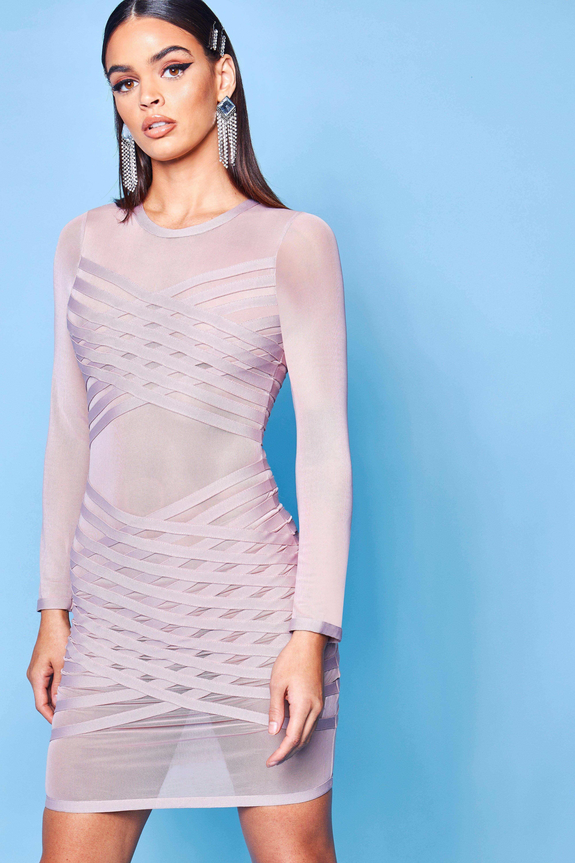Купить Dresses, Premium Bandage Fish Net Bodycon Dress, boohoo