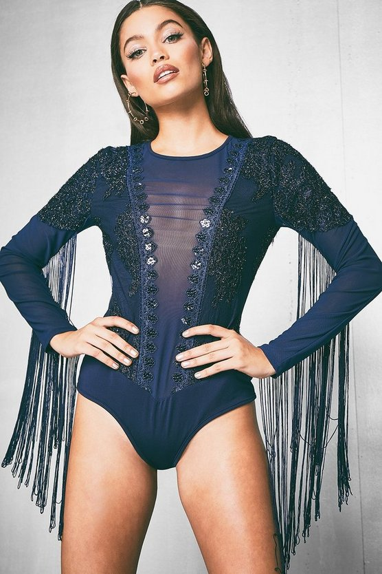 Premium Evelyn Lace And Tassel Long Sleeve Bodysuit