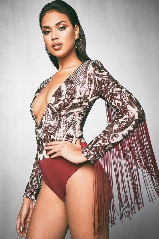 Premium Lola Long Sleeve Tassle & Sequin Bodysuit