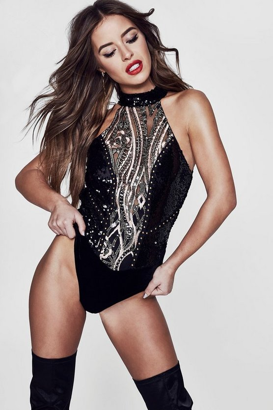 Premium Petite Alexis Sequin & Embroidered Bodysuit